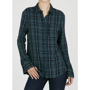 Beach Lunch Lounge Plaid Bell Sleeve Top